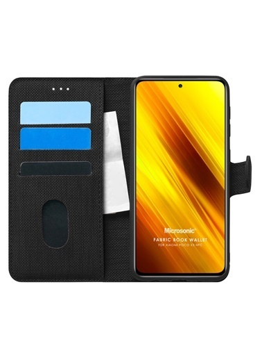 Microsonic Xiaomi Poco X3 Pro Kılıf Fabric Book Wallet Gold Siyah